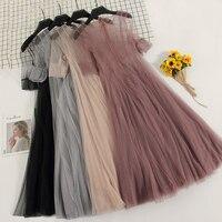 2018 Summer Women Dresses Sweet Elegant Two Pieces Transparency Short Sleeve Swing Dresses