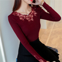 2017 New Hot Sale Pullover Pull Poncho Hitz Korean Cultivating Lace Yarn Sweater Knitted Shirt Female
