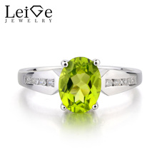 Leige Jewelry Natural Peridot Ring Wedding Ring Oval Cut Green Gemstone Ring Genuine 925 Sterling Silver Ring August Birthstone