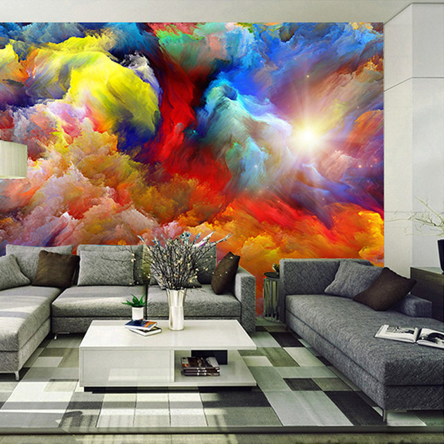 Moderne Abstrakte Kunst Bunte Wolken Öl Malerei Foto Tapete Esszimmer  Galerie Kreative Hintergrund Wand Dekor Papel Wandbild 3D