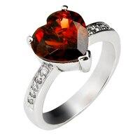 Natural Red Garnet Heart Ring 925 Sterling silver Woman Fashion Fine Elegant Jewelry Handmade Luxury Birthstone Gift SR0078G