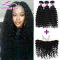 Malaysian Deep Curly Hair With Frontal Closure Malaysian Virgin Hair Deep Wave With Closure Lace Frontal Closure With Bundles
