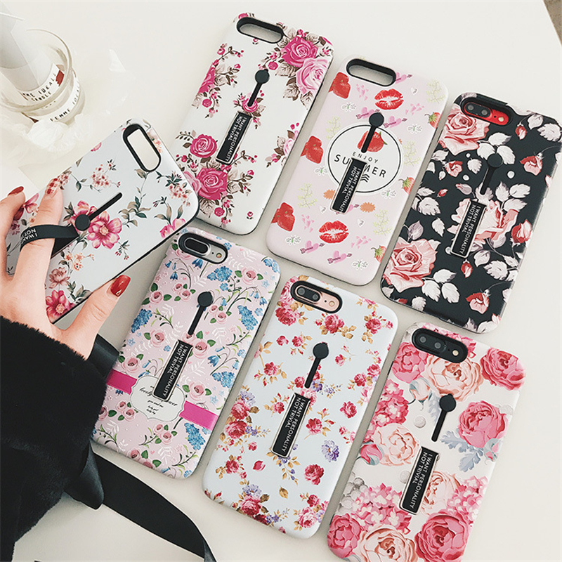 Luxury Matte Phone Cases For iPhone 7 8 X 6 6S Plus Silicone Slim Holder Belt Finger Strap Loop Phone Grip Cover Case Stand