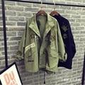 [Soonyour] 2017 otoño nueva solapa de manga larga negro verde del ejército moda mujer chaqueta de abrigo de gran tamaño floja marea HAA571