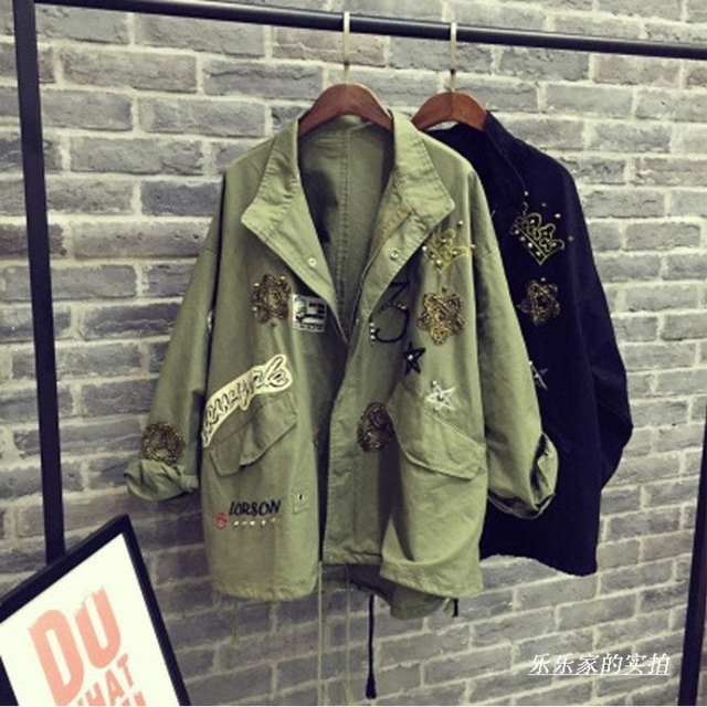 [soonyour] 2017 new autumn lapel long sleeve black army green loose big size  coat jacket women fashion tide HAA571