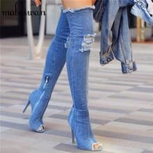 2017 Runway Moda de Mezclilla Azul Sobre La Rodilla Botas Sexy Peep Toe Toe de Tacón Alto Botas Mujeres Muslo Botas Altas Tacones Delgados Pantalones Vaqueros de arranque