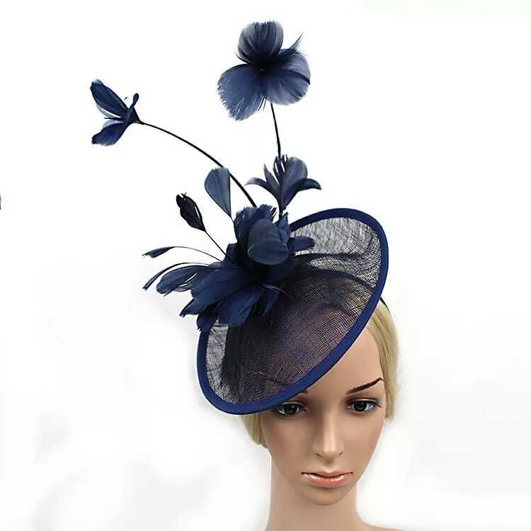 2016 Newest Women Formal Cocktail Sinamay Fascinator Wedding Hat Prom Large Feather Flower Fascinator Headband Hat Pattern free shipping high quality 2015 mini disc flower sinamay fascinator with feather for race