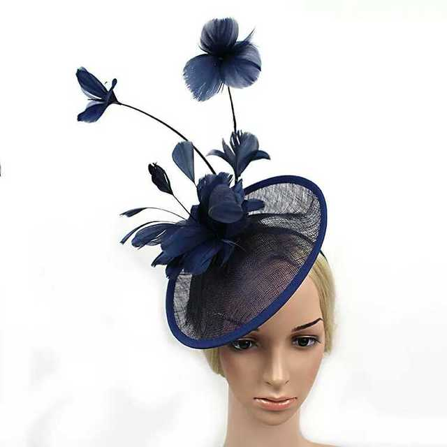 d33a67e40d1 2016 Newest Women Formal Cocktail Sinamay Fascinator Wedding Hat Prom Large  Feather Flower Fascinator Headband Hat