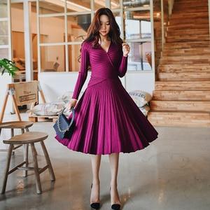 Image 2 - Dabuwawa hiver élégant robe tricotée costumes femmes Vintage fête de noël Rose violet une ligne robe ensemble pour filles dame DN1DSA016
