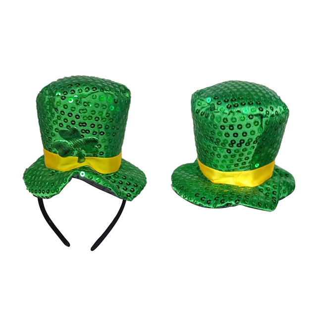 2019 Green Headband Green Leprechaun Top Sequin Shamrock Hat Hair  Accessories Props Dress Up Head Buckle St. Patricks Day Party b23551ddacd8