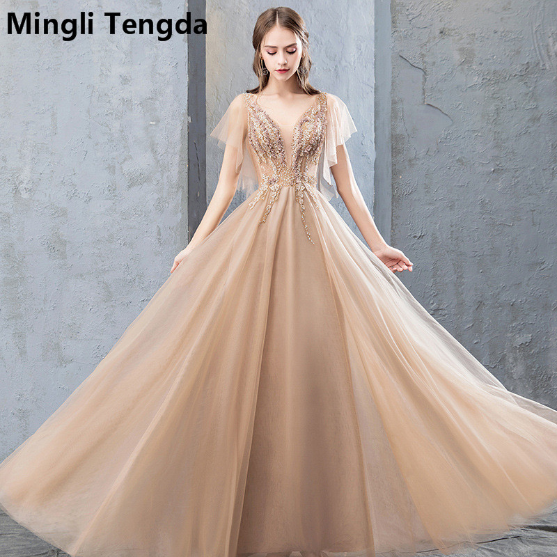 Mingli Tengda Champagne Lace   Evening   Gown Elegant Woman Long   Evening     Dresses   Illusion Formal   Dress   Sexy Flying Sleeve Abendkleid