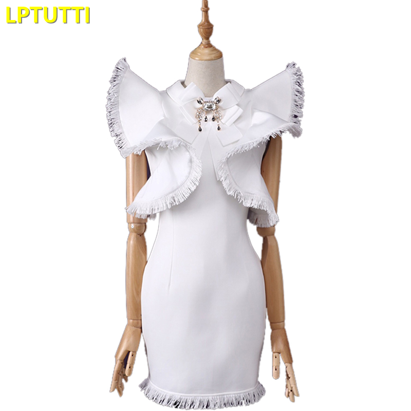 LPTUTTI Tassel Ruched New Sexy Woman Social Festive Elegant Formal Prom Party Gowns Fancy Short Luxury   Cocktail     Dresses