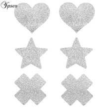 Ypser 3 Pairs Mixed Silver Nipple Cover Breast Petals Milk Paste Disposable Adhesive Stain Fashion Pasties Heart Star Cross