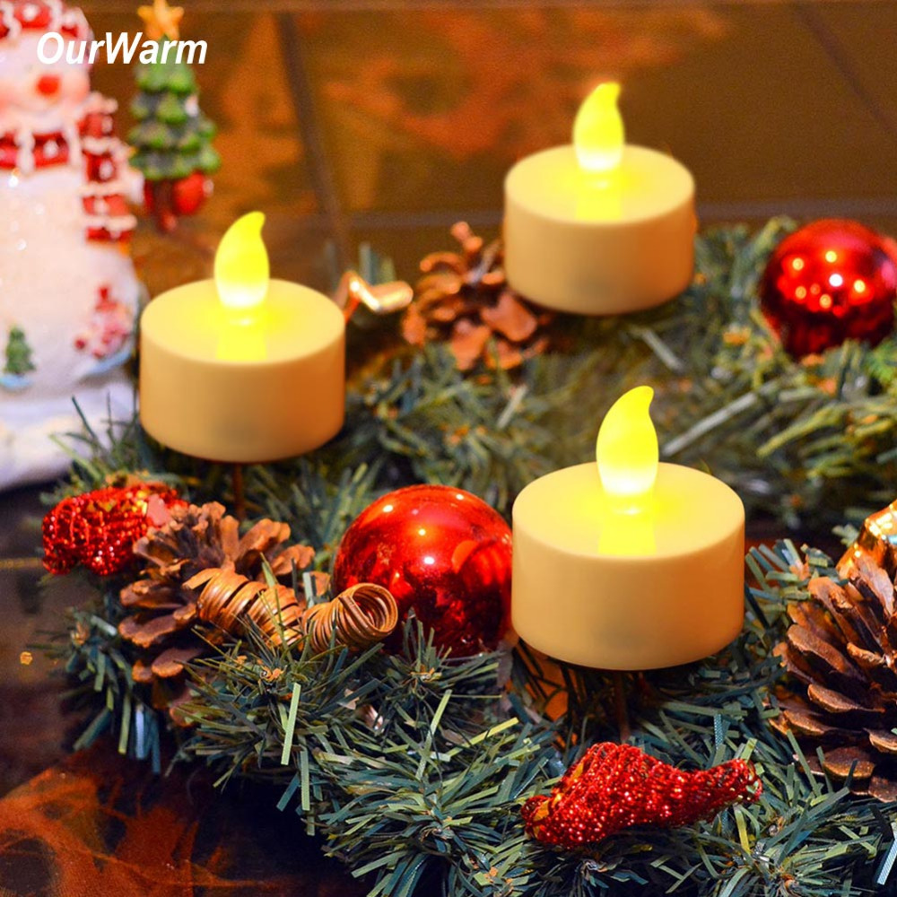 Ourwarm 24pcs led tea light candles battery powered flameless candles for christmas halloween - Appealing christmas led candles for christmas decorations ...