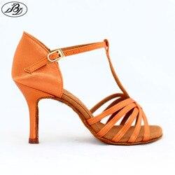 Women latin dance shoes bd 217 dark tan satin napper leather sole slim high heel ladies.jpg 250x250