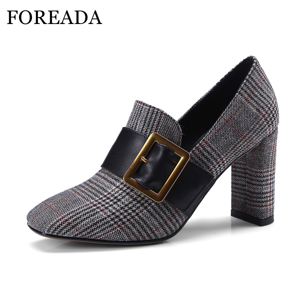 FOREADA Genuine Leather Women 2018 Shoes Plaid Pumps Spring Sexy Thick High Heels Shoes Ladies Gray Slip On Square Toe Shoes nayiduyun women genuine leather wedge high heel pumps platform creepers round toe slip on casual shoes boots wedge sneakers