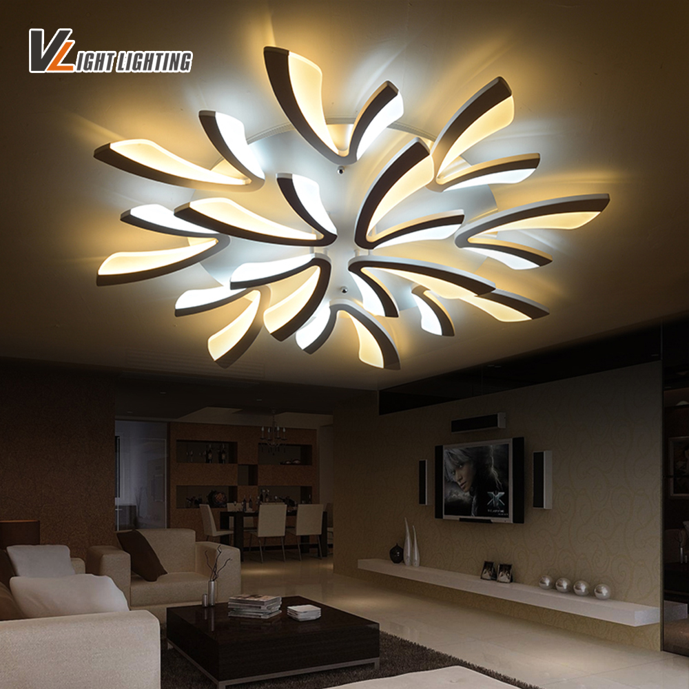New Acrylic Modern led ceiling lights for living room bedroom home Lighting decorative Remote control LED ceiling lamp new modern led ceiling lights for living room bedroom plafon home lighting combination white and black home deco ceiling lamp