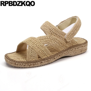 Summer Fisherman Japanese Woven 2018 Slides Espadrilles Rope Slippers Sandals Designer Shoes Men High Quality Fashion Strap