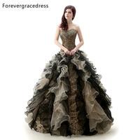 Forevergracedress реальные фотографии оборками Милая Quinceanera платье Новый леопардовый органза Длинные официальная Вечеринка платье плюс Размеры