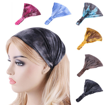 New women headband Dance Headband Cotton Stretch Hairband tie-dyed color Hair Bands Elastic Band Turban Accessories