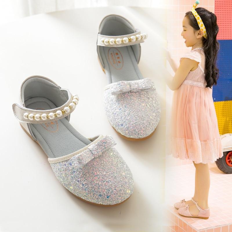 Girls Round Head Sandals Spring Summer Fashion Bowtie Princess Pearls Wedding Crystal Shoes Children Paillette Single Shoes X385