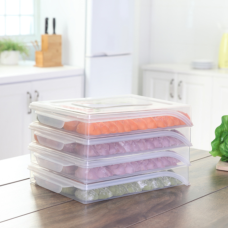 050 Kitchen Transparent tape covered refrigerator and dumpling preservation box storage box 32 22 5 5cm in Bottles Jars Boxes from Home Garden