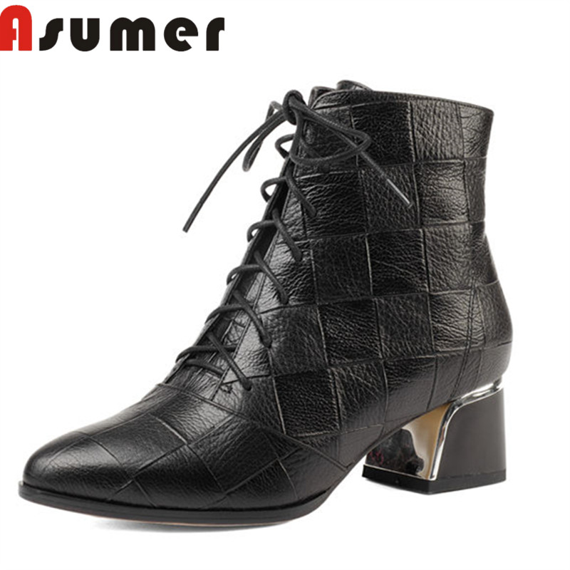 ASUMER 2018 NEW fashion solid ankle boots for women metal decoration classic winter boots pointed toe sexy genuine leather bootsASUMER 2018 NEW fashion solid ankle boots for women metal decoration classic winter boots pointed toe sexy genuine leather boots