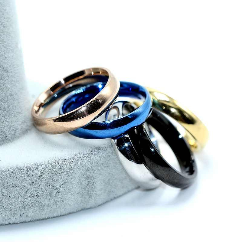 Anillo de dedo de acero inoxidable 2018 para hombres anillos de oro rosa para mujeres anillo plateado de plata joyería par de anillos de boda para mujeres regalos