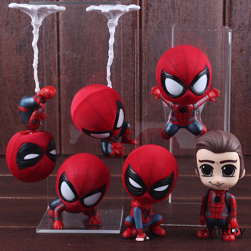 Marvel Spider Man Homecoming The Spiderman Q Version Mini Bobble Head PVC Figures Toys Car Home Decoration Doll 6 Styles