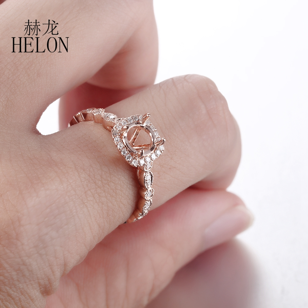 HELON Solid 10K Rose Gold Round 5mm to 6.5mm Pave Natural Diamonds ...