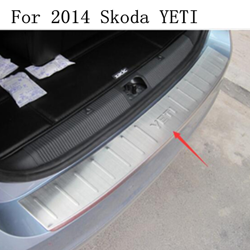 high quality For 2014 Skoda YETI Rogue Steel Rear Bumper Protector Sill Trunk Guard Cover Trim Car Styling Accessories for subaru xv 2017 2018 suv stainless steel rear bumper protector sill trunk rear guard plate cover trim car styling accessories