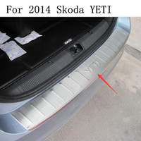 high quality For 2014 Skoda YETI Rogue Steel Rear Bumper Protector Sill Trunk Guard Cover Trim Car Styling Accessories