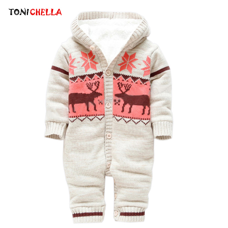 Baby Rompers Warm Thick Clothes Winter Knitted Sweater Newborn Boy Girls Climbing Jumpsuit Christmas Deer Hooded Outwear CL5008 2017 new baby rompers winter thick warm baby girl boy clothing long sleeve hooded jumpsuit kids newborn outwear for 1 3t