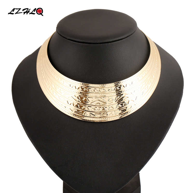 LZHLQ 2020 Rock /Street Style Silver Gold Color Maxi Big Collier Statement Necklace Punk Power Collar Choker  Women Jewelry