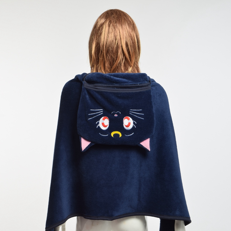 Anime Fleece Cloak Қыздар Cute Sailor Collar Luna Cat Shawls - Костюмдер - фото 1