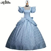 Ling Bultez High Quality Cinderella Cosplay Costume Princess Cinderella Costume Upgraded Gorgeous Blue Princess Dress