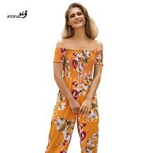 2018 Summer Beach High waist Print Women Jumpsuit Vacation sweet chiffon playsuit casual Slash neck jumpsuits Leotard Overalls