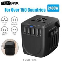 Highever 2400W travel adapter international universal power adaptador with 4 USB port 5A 2.4V for UK/AU/USA/EU worldwide Xiaomi