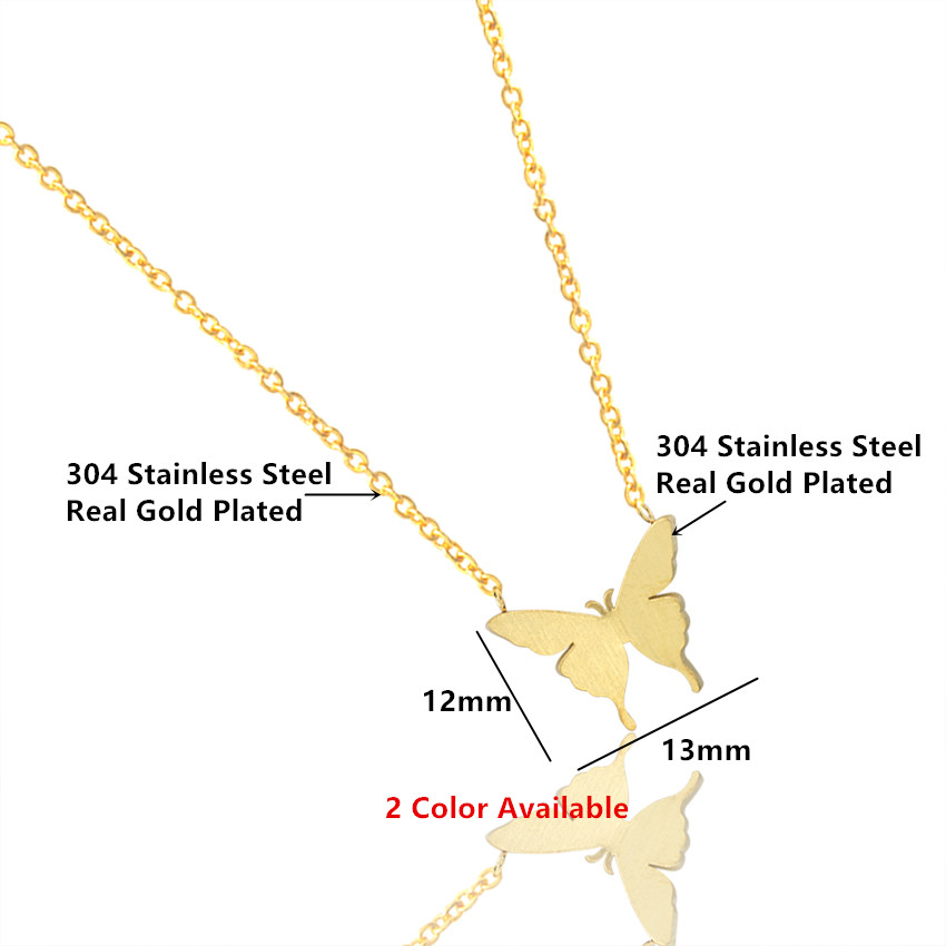ACEBFEET Simple Stainless Steel Butterfly Necklace Boho Collares Pendants Gold Silver Jewelry BFF Statement Halskette 2018 in Pendant Necklaces from Jewelry Accessories