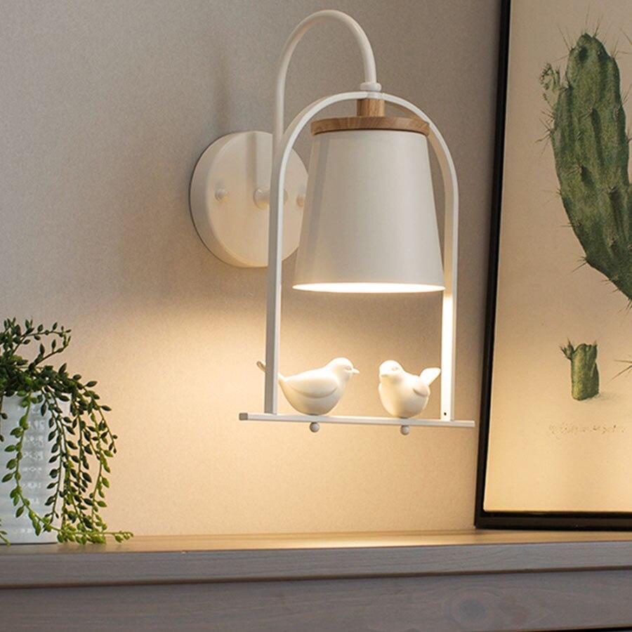 Thrisdar Nordic Creative LED Wall Lamp With 2 Flying Bird Bedroom Bedside Reading Wall Light Children Kid's Room LED Wall Light-in Wall Lamps from Lights & Lighting    1