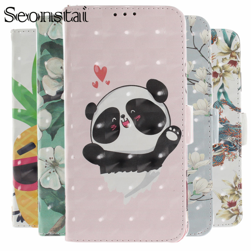 XS Max Luxury PU Leather Case For iPhone 7 Plus 6S Plus Cover 5S 3D Flower Panda Dog Flip Wallet Cases For iPhone 8 Plus XR Capa