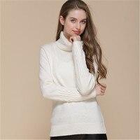 Высокого качества жаккард 100% Шевро кашемировая водолазка толстой вязки Женская мода, тонкий пуловер свитер черный 4 вида цветов S 2XL