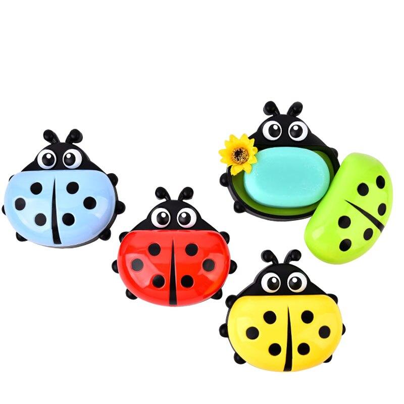 FHEAL Cute Ladybug Soap Box Badeværelse Aftap sæbeholder Køkken - Hjem opbevaring og organisation - Foto 2