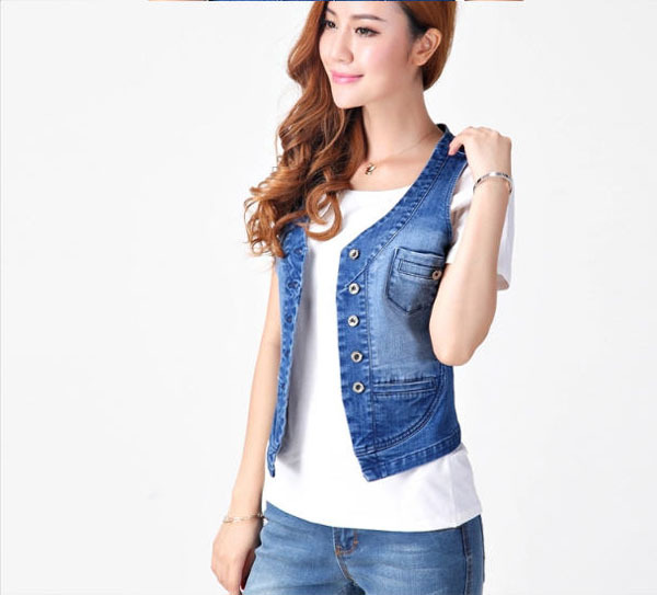 Popular Sleeveless Denim Jacket for Women-Buy Cheap Sleeveless ...