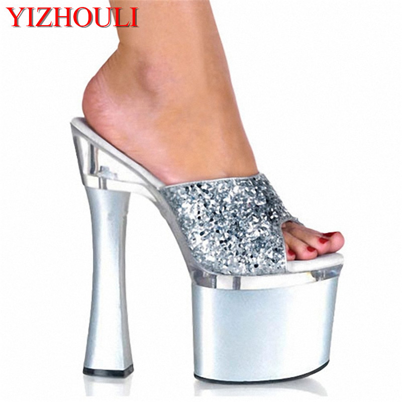 High-Heeled Slippers New Selling Cheap 18cm Sexy Fashion Glitter With Summer Slippers Thick Heel ShoeHigh-Heeled Slippers New Selling Cheap 18cm Sexy Fashion Glitter With Summer Slippers Thick Heel Shoe
