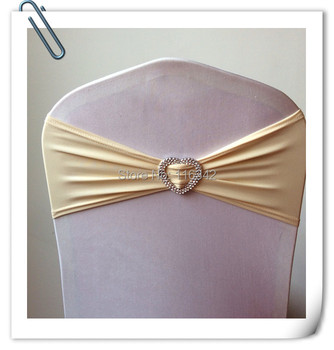 Hot Sale champagne 100pcs  Spandex Bands /Chair Covers Sash With Heart Shape Buckle For Wedding & Banquet free shipping