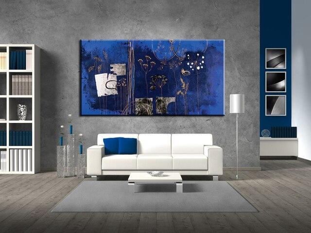 Slaapkamer Met Kunstmuur : Grote abstracte donkerblauw bloem acryl muur canvas handgemaakte