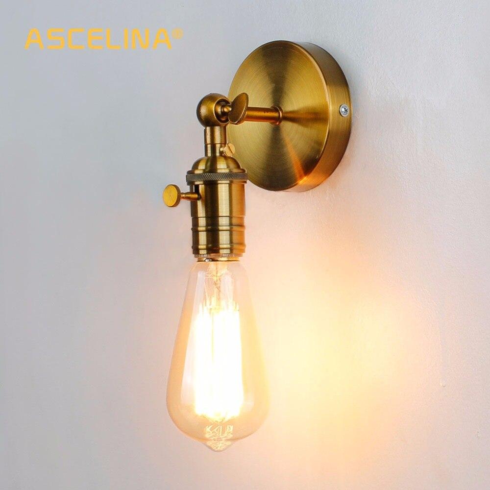 Retro lámpara lámparas de pared Vintage Loft luces E27 bombilla de oro de hierro Industrial Retro deco hogar iluminación luminaria corredor