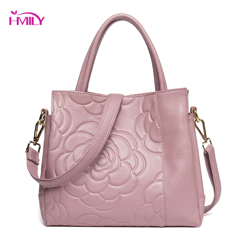 HMILY Genuine Leather Women Handbag Ladies Rose Pattern Daily Bag Vintage Female Messenge Bag Fashion Real Leather Shoulder Bag genuine leather female handbag autumn bag large size women shoulder bag daily vintage women bag causal bag