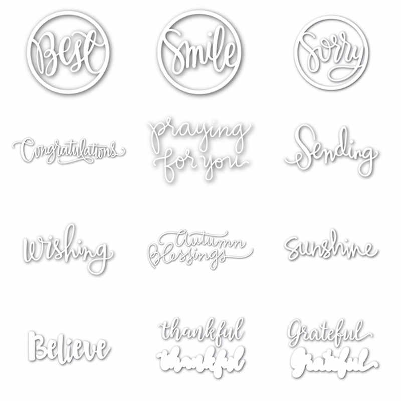 Metal Cutting Dies Stencils DIY Words Scrapbooking Album Paper Crafts Embossing